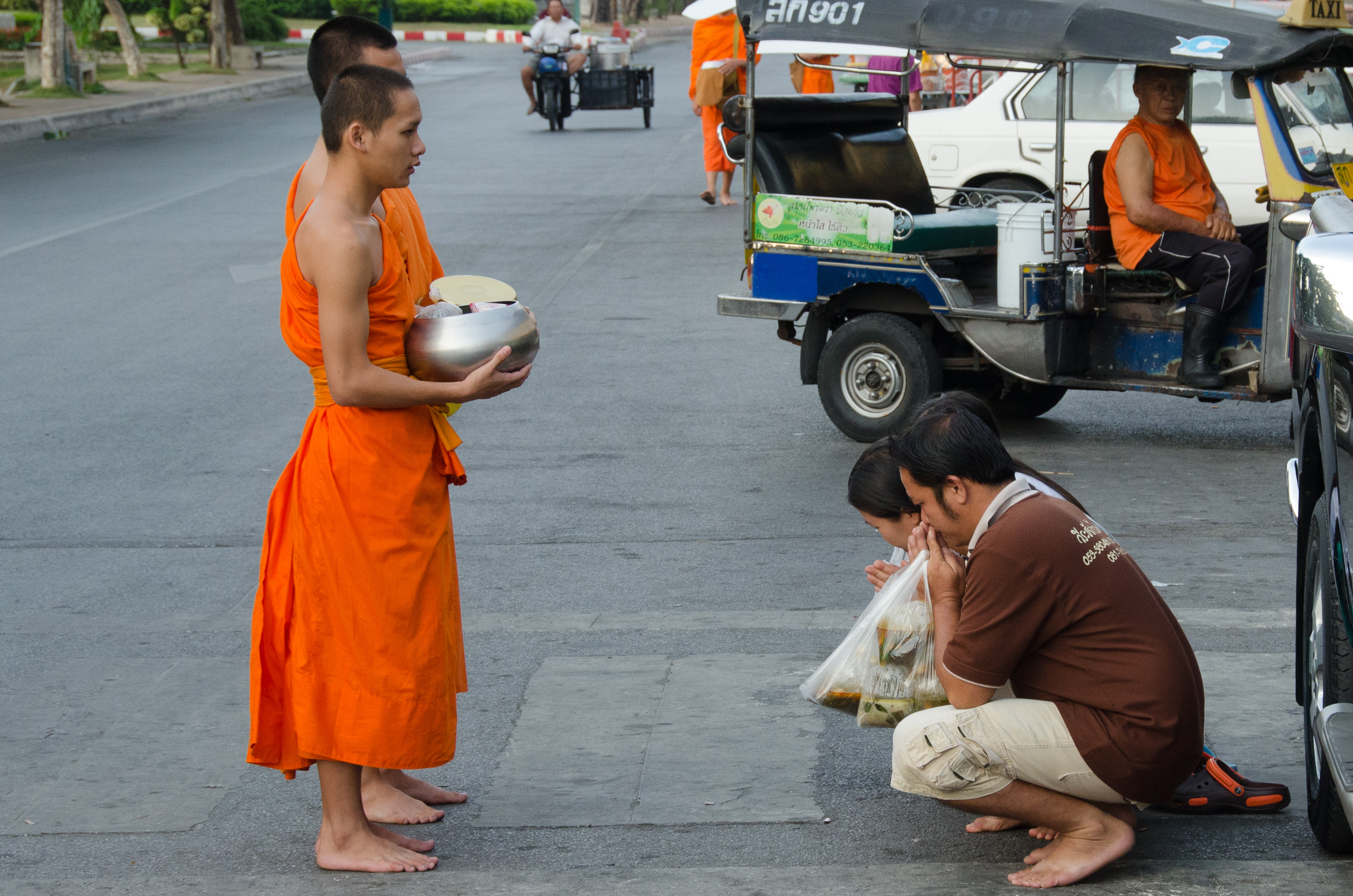 Morning alms ceremony, Chiang Mai
