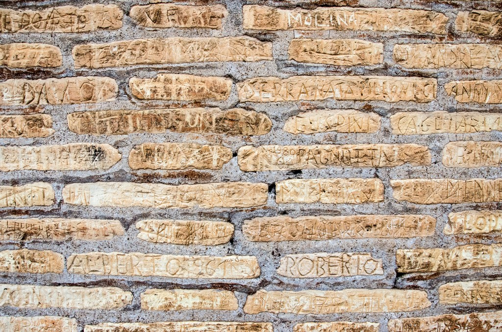 Modern graffiti: if you're the kind of person who feels the need to carve your name into an ancient building, just punch yourself in the face and save the rest of us the trouble